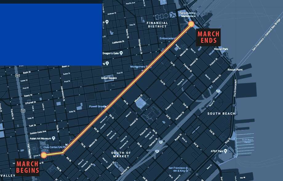 A map shows the planned route for the March for Our Lives on Saturday, March 24, 2018. The march will start at Civic Center Plaza and end at Embarcadero Plaza. Photo: Courtesy Of March For Our Lives San Francisco
