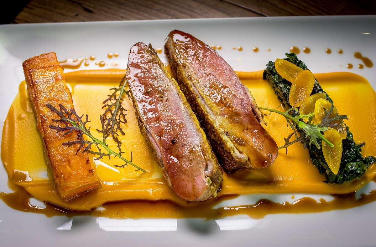 Liberty Farms Duck Breast at Charlie Palmer Steak in Napa, Calif., is seen on March 17th, 2018.