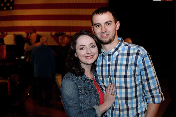 Erika Leggett and Cole Clabough at the Texas Energy Museum's Blowout on Thursday. Andrew Card, who served as chief of staff for former President George W. Bush, was the guest speaker.   Photo taken Thursday 3/22/18 Ryan Pelham/The Enterprise
