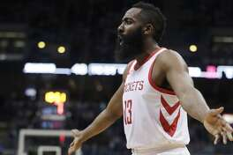 Houston Rockets' James Harden reacts during the second half of an NBA basketball game against the Milwaukee Bucks Wednesday, March 7, 2018, in Milwaukee. (AP Photo/Morry Gash)