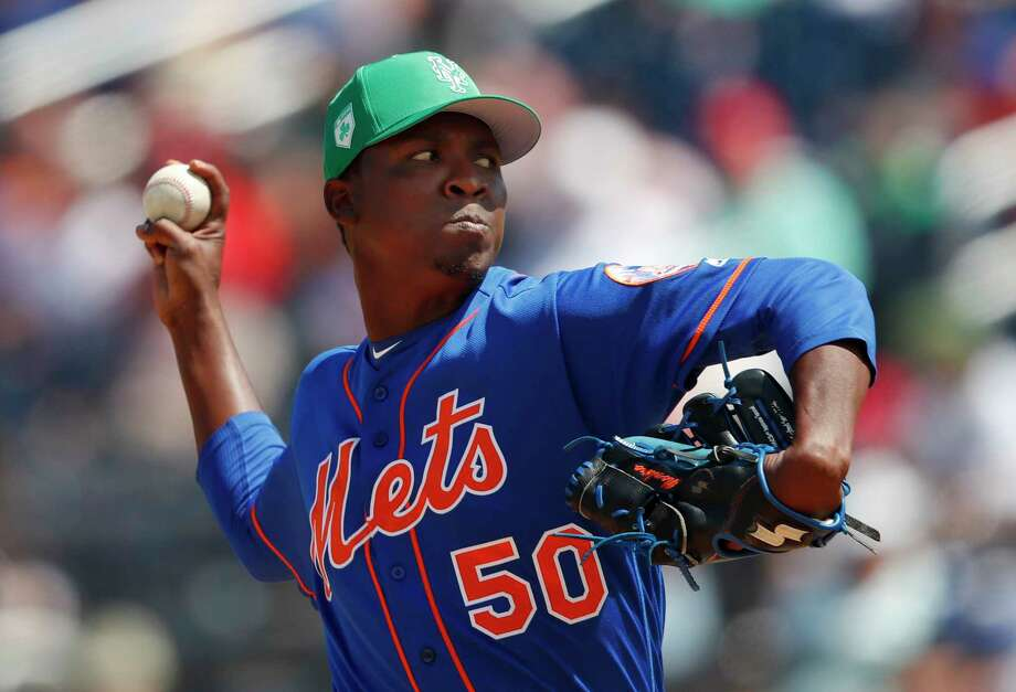 New York Mets pitcher Rafael Montero (50) works against the Washington Nationals in the third inning of a spring training baseball game, Saturday, March 17, 2018, in West Palm Beach, Fla. (AP Photo/John Bazemore) Photo: John Bazemore / Copyright 2018 The Associated Press. All rights reserved.