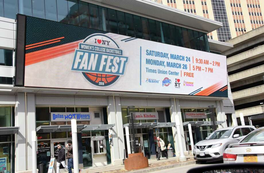 LED screens advertise the Fan Fest for the Women's NCAA Tournament outside the Times Union Center on Thursday, March 22, 2018 in Albany, N.Y. (Lori Van Buren/Times Union) Photo: Lori Van Buren / 20043269A