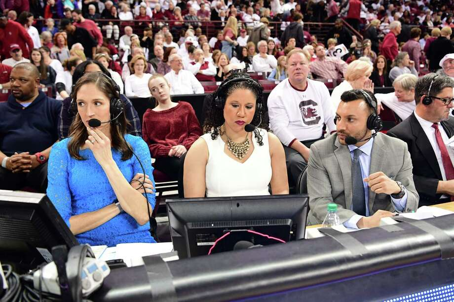 Columbia, SC - February 1, 2018 - Colonial Life Arena: Rebeca Lobo, Kara Lawson and Adam Amin during a regular season game (Photo by Phil Ellsworth / ESPN Images) Photo: Phil Ellsworth / ESPN Images / 2018, ESPN Inc.