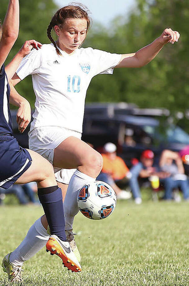 Carlinville's Lexi Egelhoff (10) scored a goal in her team's win over Auburn Thursday in the Carlinville Spring Cup at Blackburn College. Photo: Telegraph File Photo