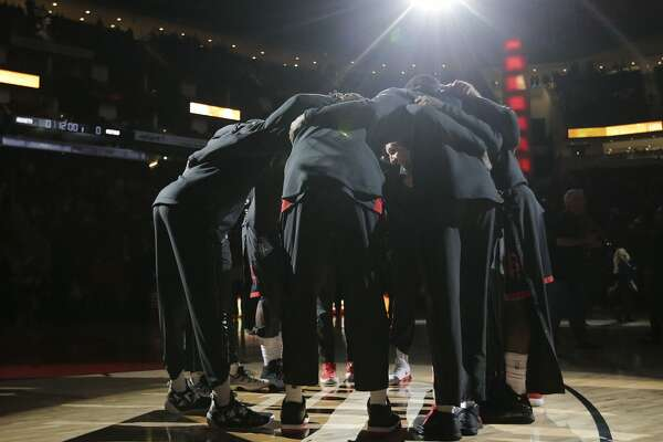 The Houston Rockets gather together before they compete against the Detroit Pistons at Toyota Center on Thursday, March 22, 2018, in Houston. ( Elizabeth Conley / Houston Chronicle )