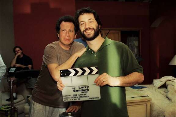 """Garry Shandling and Judd Apatow on the set of """"The Larry Sanders Show,"""" where Apatow worked as a producer."""