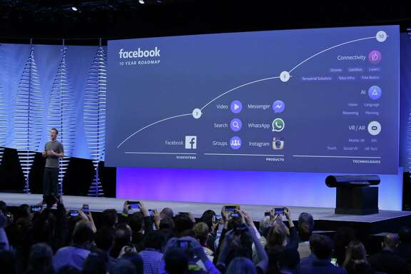 Facebook CEO Mark Zuckerberg talks about the company's 10-year roadmap during the 2016 keynote address at the F8 Facebook Developer Conference in San Francisco.