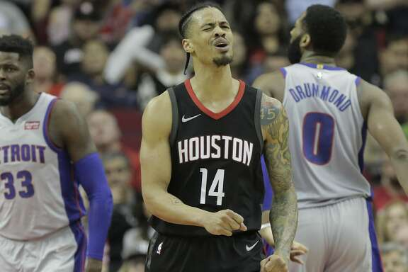 Houston Rockets guard Gerald Green (14) reacts to being called for a foul against the Detroit Pistons at Toyota Center on Thursday, March 22, 2018, in Houston. Rockets won the game 100-96 in overtime. ( Elizabeth Conley / Houston Chronicle )
