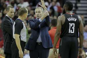 Houston Rockets head coach Mike D'Antoni tries to explain to official John Goble (30) how Houston Rockets guard James Harden (13) was fouled while putting up a shot to end the third quarter against the Detroit Pistons at Toyota Center on Thursday, March 22, 2018, in Houston. Rockets won the game 100-96 in overtime. ( Elizabeth Conley / Houston Chronicle )