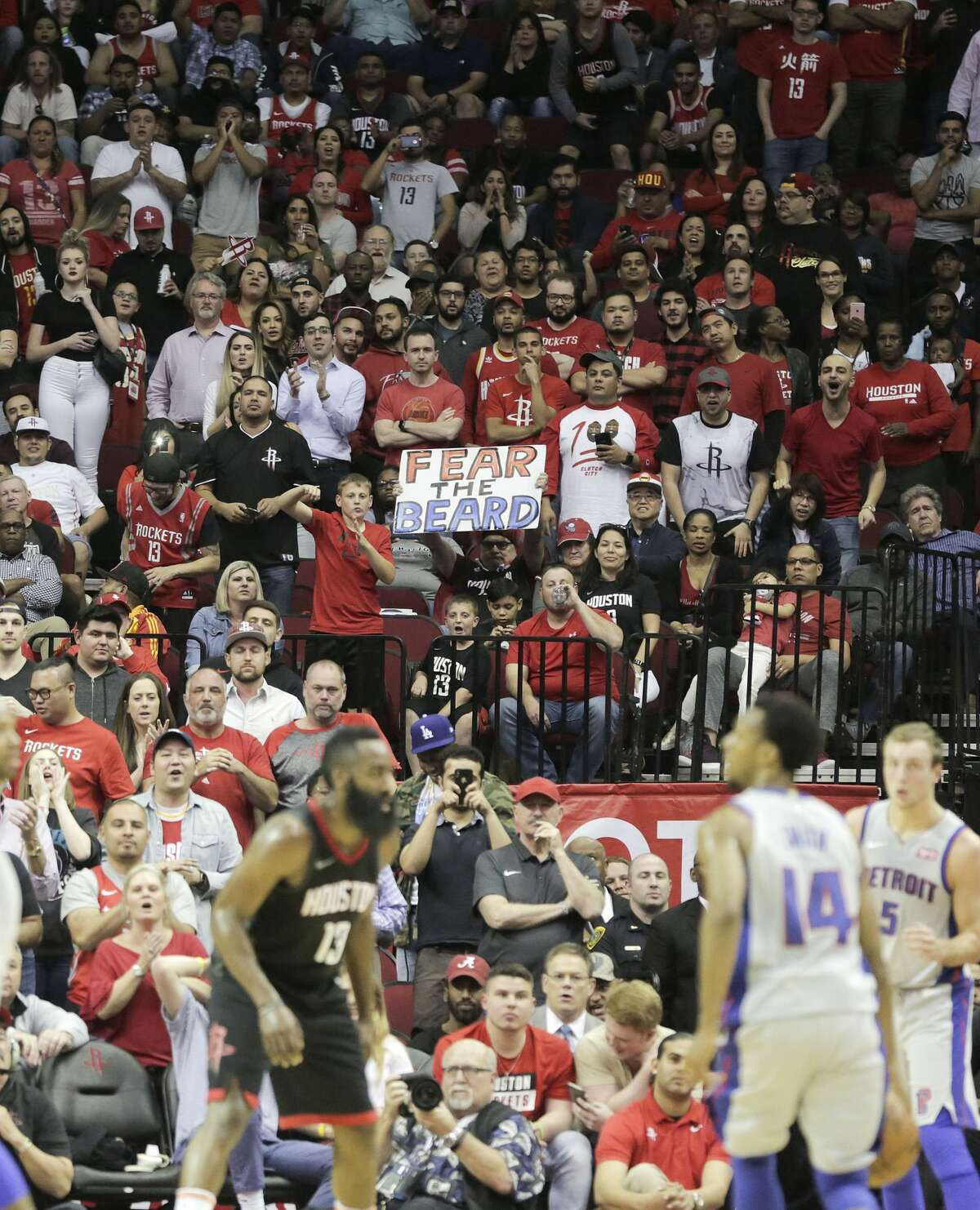 Houston Rocket fans cheer on their team at the end of regulation game against the Detroit Pistons at Toyota Center on Thursday, March 22, 2018, in Houston. Rockets won the game 100-96 in overtime. ( Elizabeth Conley / Houston Chronicle )