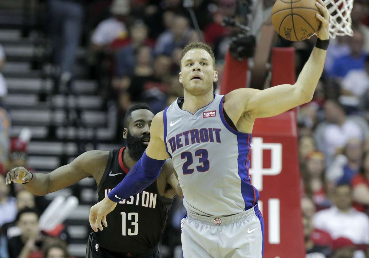 Detroit Pistons forward Blake Griffin (23) keeps control of the ball as Houston Rockets guard James Harden (13) plays defense at the Toyota Center on Thursday, March 22, 2018, in Houston. Rockets won the game 100-96 in overtime. ( Elizabeth Conley / Houston Chronicle )