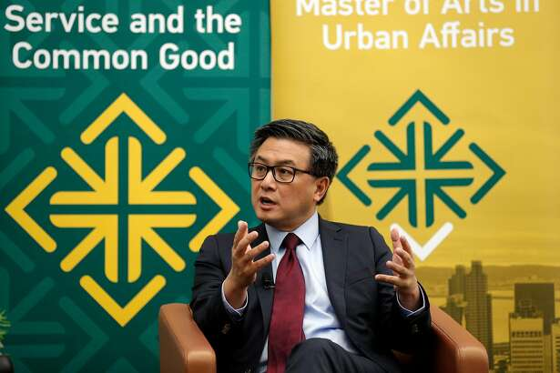 """State treasurer John Chiang appears at a University of San Francisco forum speaking with Politico's David Siders as part of a series with CA gubernatorial candidates called, """"The Second Most Important Job in America."""" in San Francisco, Calif., on Thursday, March 22, 2018."""