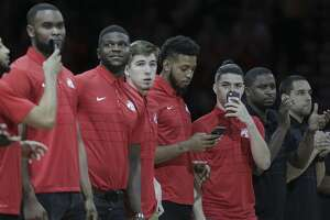 Members of the University of Houston basketball team are introduced during the Houston Rockets and Detroit Pistons game at Toyota Center on Thursday, March 22, 2018, in Houston. ( Elizabeth Conley / Houston Chronicle )
