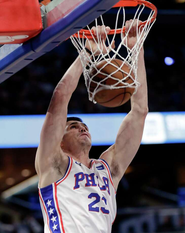 Philadelphia 76ers' Ersan Ilyasova makes an uncontested dunk against the Orlando Magic during the first half of an NBA basketball game, Thursday, March 22, 2018, in Orlando, Fla. (AP Photo/John Raoux) Photo: John Raoux / Copyright 2018 The Associated Press. All rights reserved.