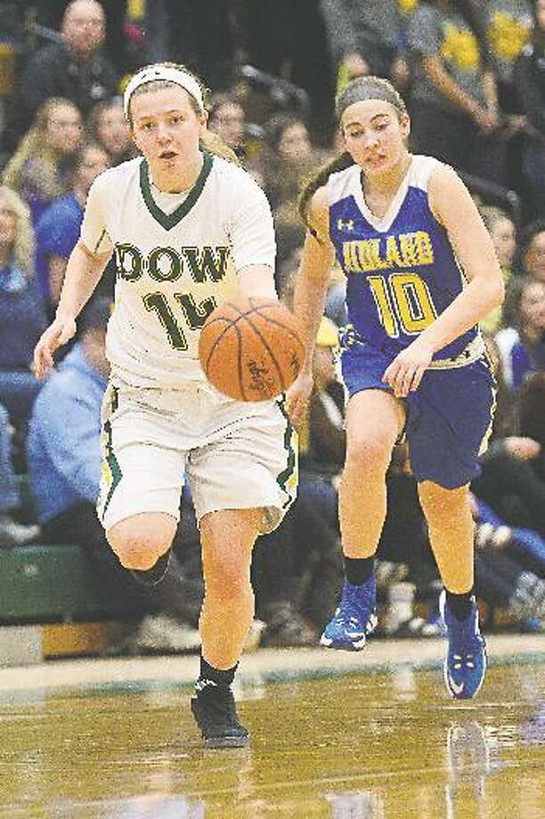 Dow High's Molly Davis brings the ball upcourt during a game against Midland High in this Daily News file photo. Davis will join the CMU program in 2019. (Erin Kirkland)
