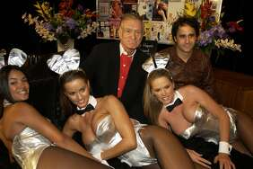 Hugh Hefner, George Maloof, Christine Santiago, Karen McDougal, Julie Cialini (Photo by Denise Truscello/WireImage)