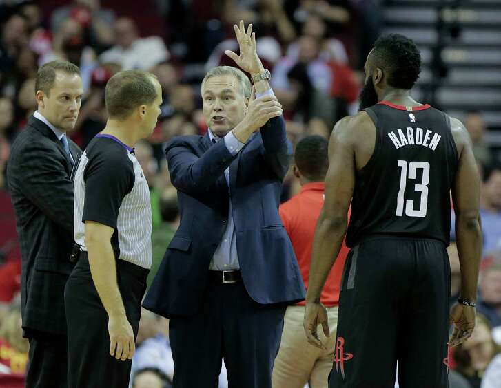 Houston Rockets head coach Mike D'Antoni tries to explain to official John Goble (30) how Houston Rockets guard James Harden (13) was fouled while putting up a shot to end the third quarter against the Detroit Pistons at Toyota Center on Thursday, March 22, 2018, in Houston. Rockets won the game 100-96 in overtime.