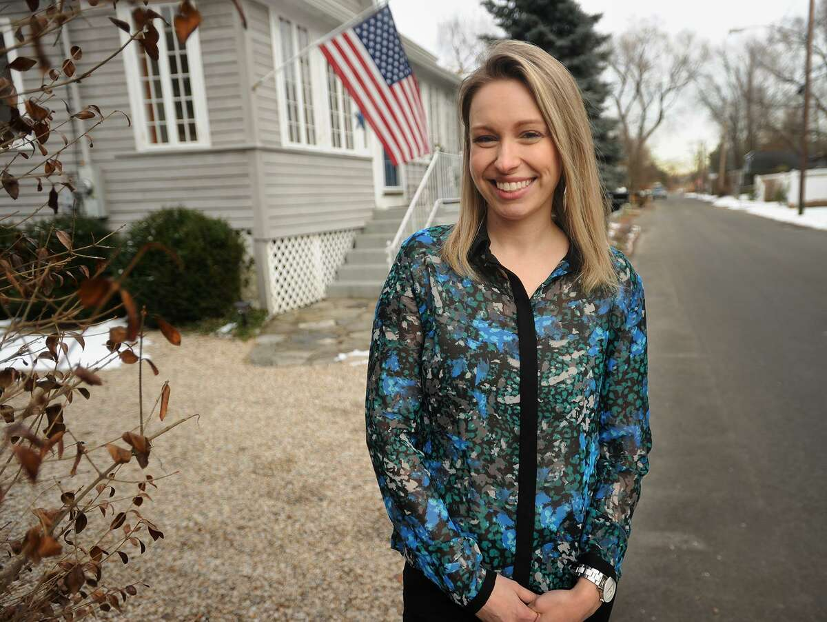 Democratic candidate for state representative Caitlin Pereira outside her home in Fairfield on Jan. 31. Pereira said her concern for the state of the country that her daughter will grow up in was the motivation for her to run for political office.