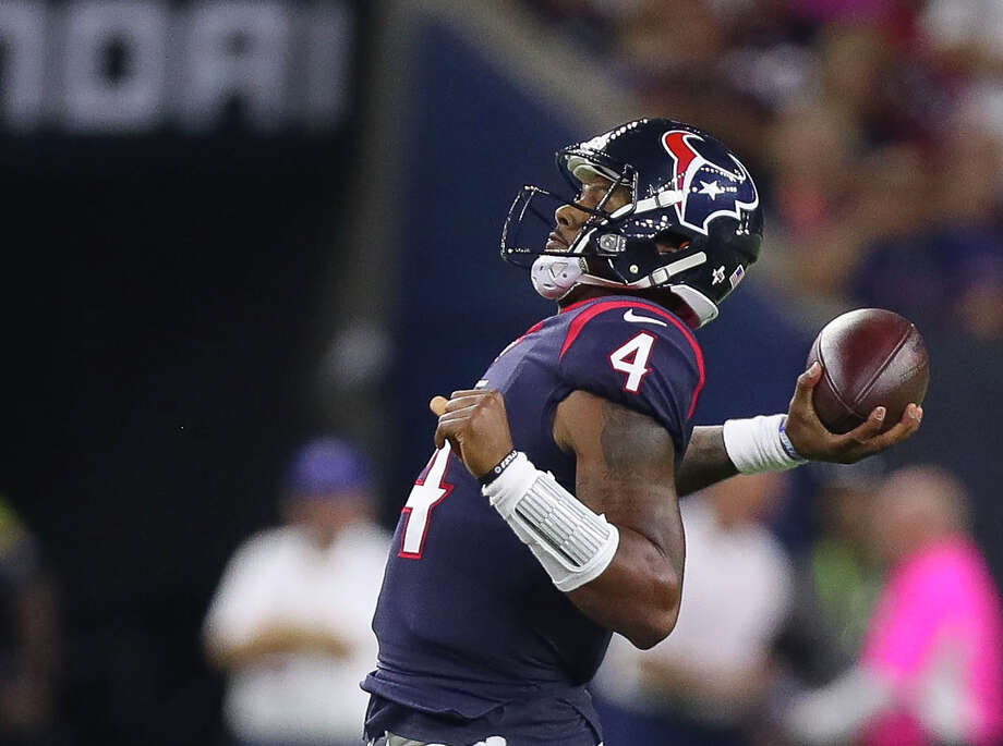 Deshaun Watson's 5 best plays during his rookie quarterback season with the Texans Oct. 8: vs. Kansas City, NRG Stadium Chiefs 42, Texans 34 With the Chiefs leading 26-13 early in the fourth quarter, Watson dropped back. Defensive end Rakeem Nunez-Roches had a clear shot up the middle. As he approached Watson for what should have been a sack, the quarterback stepped to his left, switched the ball from his right to left hand as Nunez-Roches hit his right hand. When Watson pulled free, he switched the ball back to his right hand and threw a 48-yard touchdown pass to Will Fuller. Photo: Michael Ciaglo/Houston Chronicle