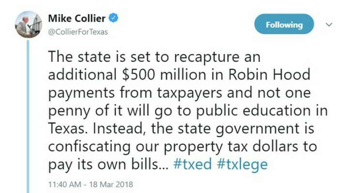 In this March 2018 tweet, Mike Collier says money recaptured from property-rich districts won't be going to fund education (screen grab).