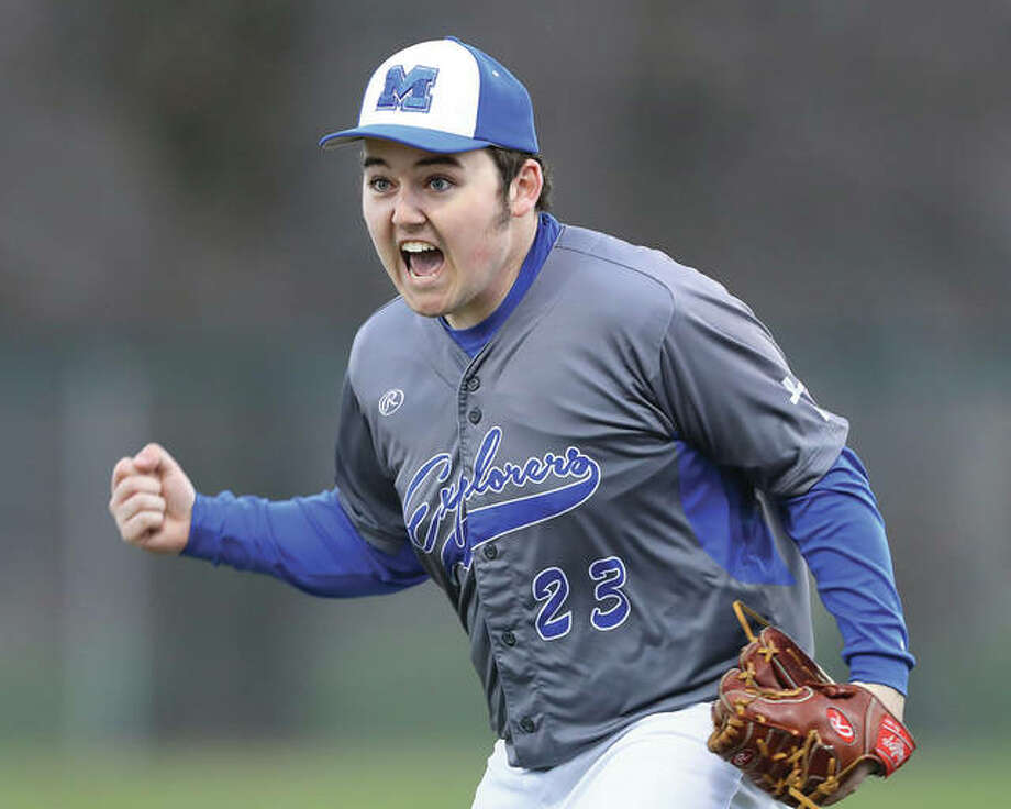 Marquette's Luke Simmons reacts after getting out of a sixth-inning jam during Thursday's game against Gillespie at Hopkins Field in Alton. Simmons got the win in the Explorers' 8-0 victory. Photo: Billy Hurst / For The Telegraph