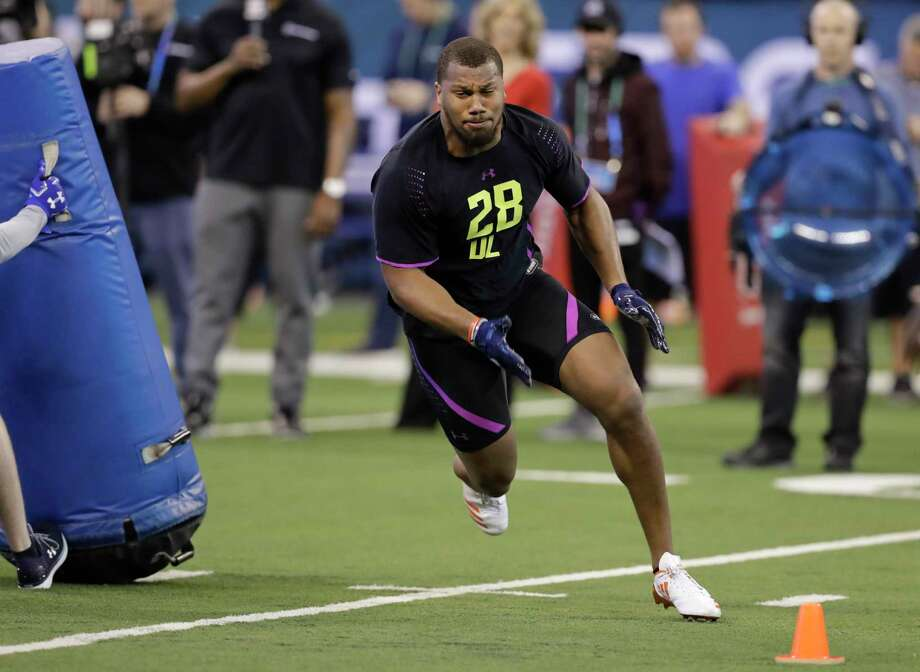 North Carolina State defensive lineman Bradley Chubb runs a drill during the NFL football scouting combine, Sunday, March 4, 2018, in Indianapolis. (AP Photo/Darron Cummings) Photo: Darron Cummings, Associated Press / Copyright 2018 The Associated Press. All rights reserved.