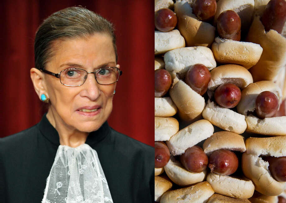 Left: Supreme Court Justice Ruth Bader Ginsburg in 2009 (Mandel Ngan/AFP) Right: Hot dogs (Getty) Photo: AFP/Getty