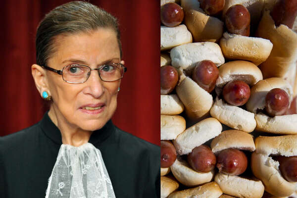 Left: Supreme Court Justice Ruth Bader Ginsburg in 2009 (Mandel Ngan/AFP) Right: Hot dogs (Getty)