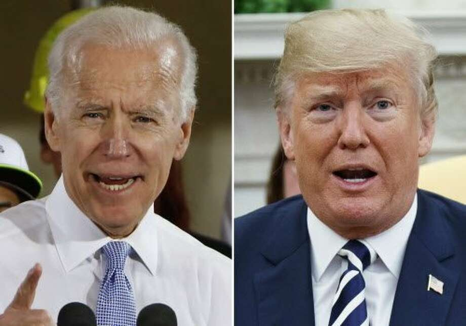 "FILE - In this combination of file photos, former Vice President Joe Biden speaks in Collier, Pa., on March 6, 2018, and President Donald Trump speaks in the Oval Office of the White House in Washington on March 20, 2018. The Republican president and the former Democratic vice president are trading fighting words over who'd come out on top in a hypothetical matchup.  At a University of Miami rally against sexual assault on Tuesday, Biden cited lewd comments that candidate Trump made in a 2005 ""Access Hollywood"" tape about grabbing women without their permission. ""If we were in high school, I'd take him behind the gym and beat the hell out of him,"" Biden said. He also said any man who disrespected women was ""usually the fattest, ugliest SOB in the room.""(AP Photo) Photo: Associated Press"