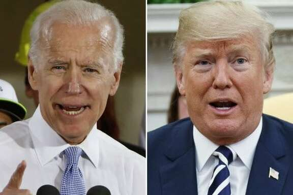 """FILE - In this combination of file photos, former Vice President Joe Biden speaks in Collier, Pa., on March 6, 2018, and President Donald Trump speaks in the Oval Office of the White House in Washington on March 20, 2018. The Republican president and the former Democratic vice president are trading fighting words over who'd come out on top in a hypothetical matchup.  At a University of Miami rally against sexual assault on Tuesday, Biden cited lewd comments that candidate Trump made in a 2005 """"Access Hollywood"""" tape about grabbing women without their permission. """"If we were in high school, I'd take him behind the gym and beat the hell out of him,"""" Biden said. He also said any man who disrespected women was """"usually the fattest, ugliest SOB in the room.""""(AP Photo)"""