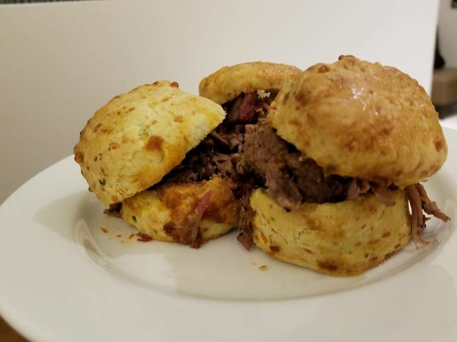 Jackson Street BBQ, which now has a location inside the ballpark, sells Cheddar Biscuit with burnt ends. Photo: Demetrio Teniente