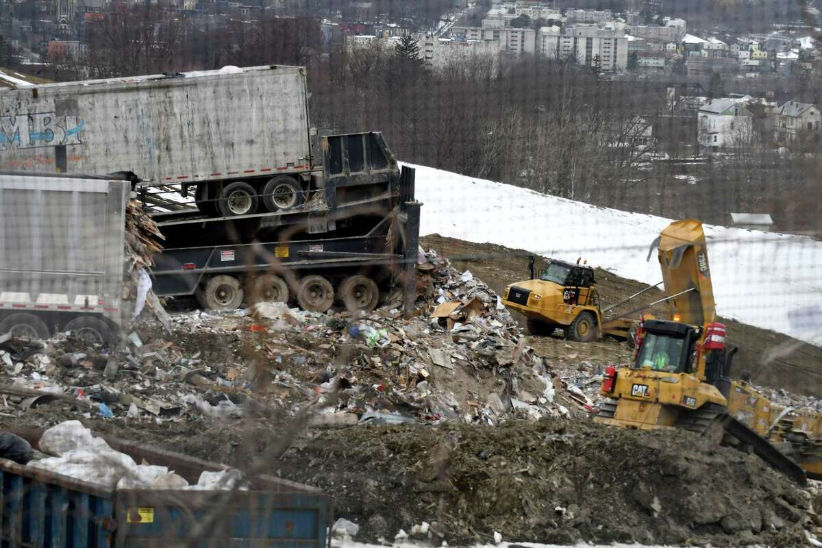 Work at the Dunn C&D Landfill on Wednesday, March 21, 2018, in Rensselaer, N.Y. (Will Waldron/Times Union)