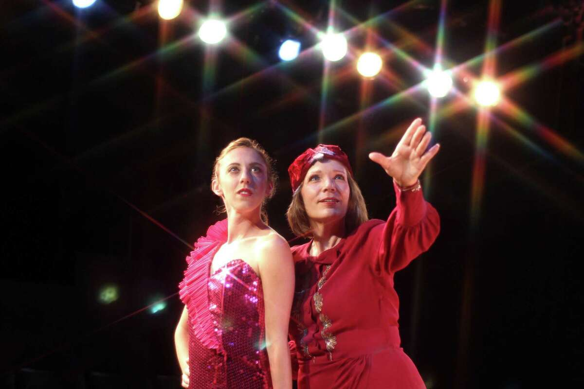 Kate Simone, left, was the stripper Gypsy Rose Lee and Kirsti Carnahan played her overpowering stage mother, Rose, in the Music Theatre of Connecticut production of
