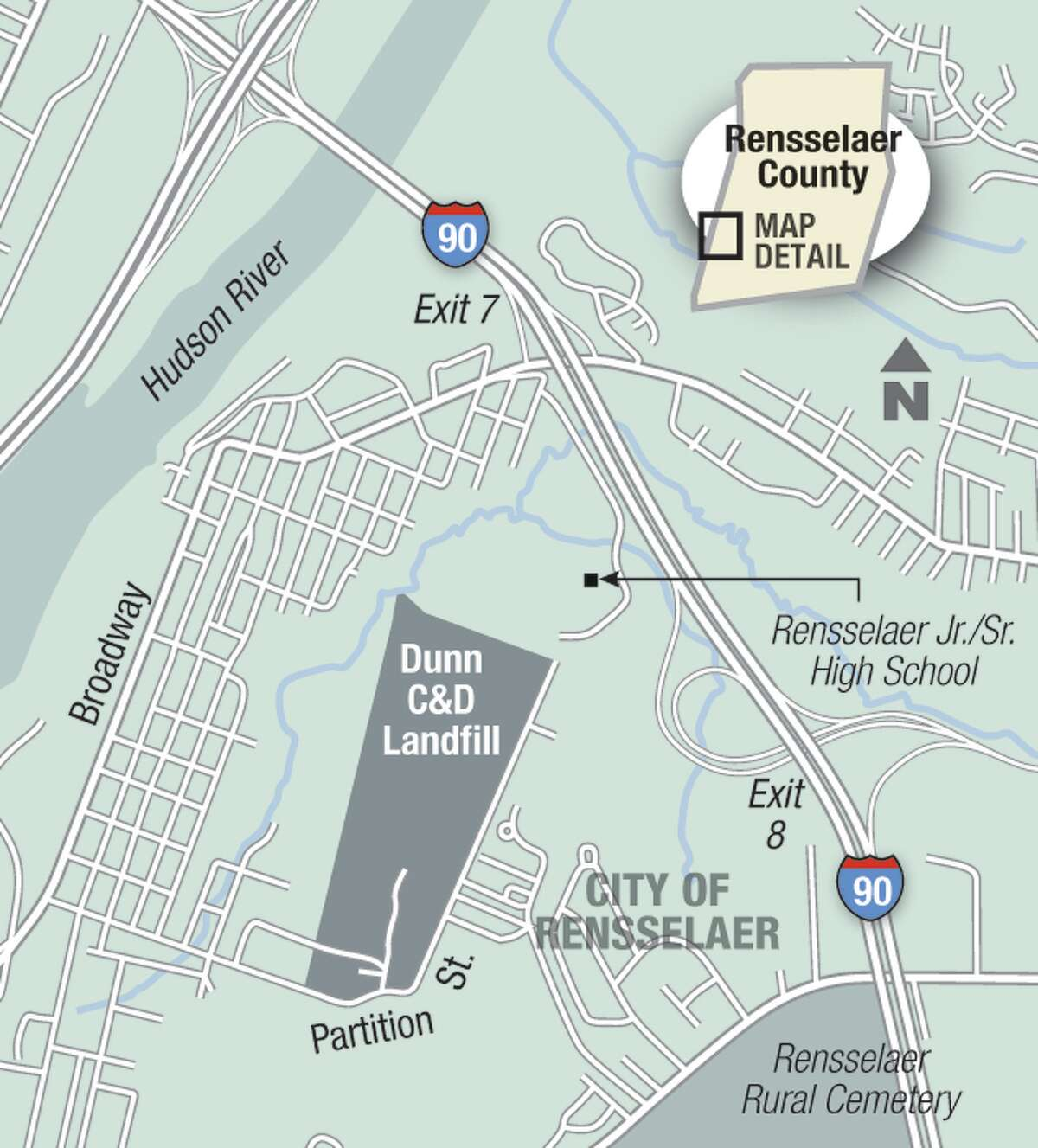 Location of the Dunn construction and demolition debris landfill next to the Rensselaer Junior-Senior High School.