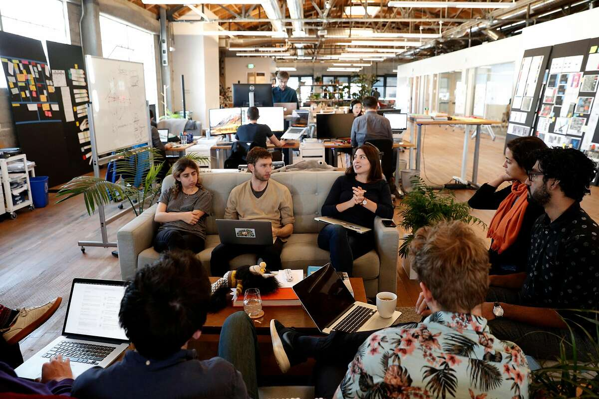 A group discussion at the headquarters of Remix, a company that designs public transit routes for cities, located south of Market St. in San Francisco, Calif., as seen on Thurs. March 22, 2018.