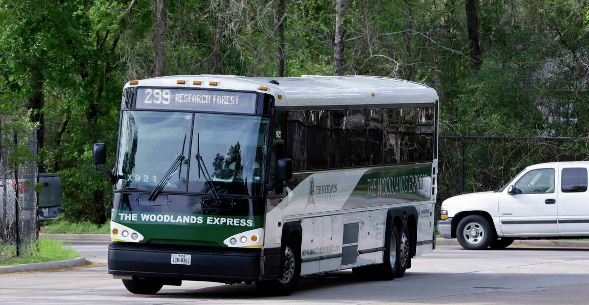 One of The Woodlands Express buses, a commuter bus service to and from Houston, pulls into the Marisco Place