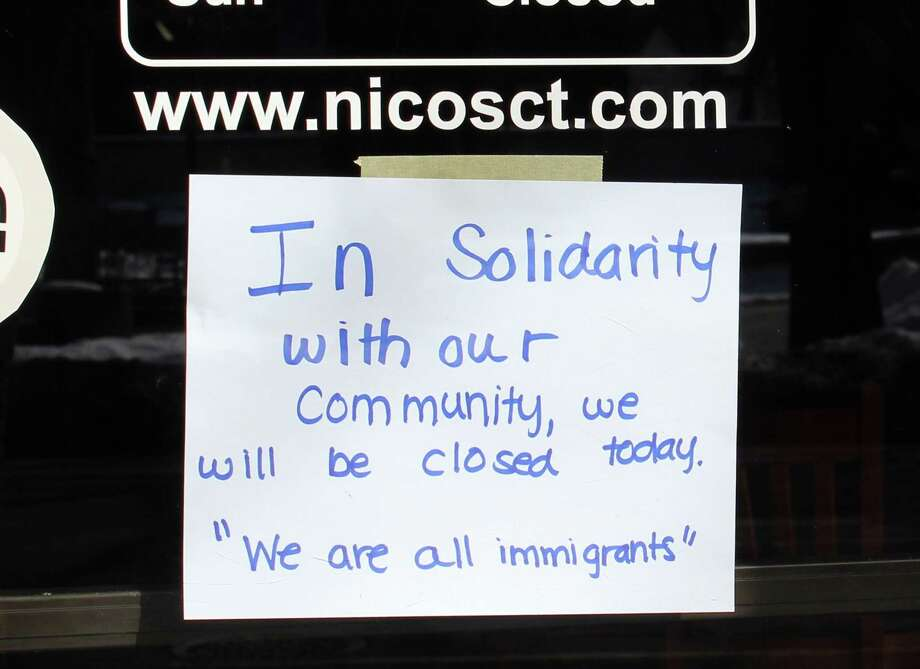 "Nico's Restaurant on Main Street in Danbury, Conn., closed Feb. 16, 2017, in support of ""a day with immigrants."" Photo: Barry Lytton /Barry Lytton / The News-Times"