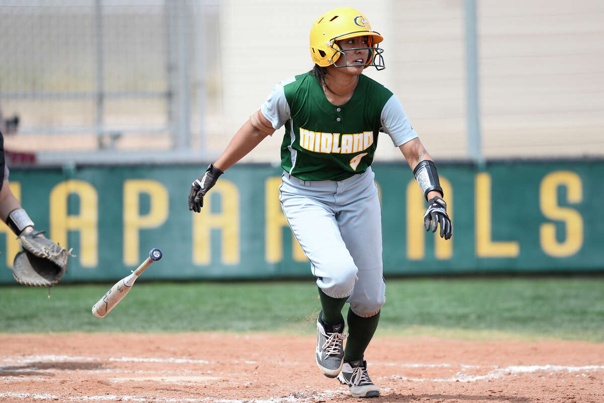 Midland College's Rayla Jacobs-Kea (9) hits against Frank Phillips College on March 23, 2018, at MC. James Durbin/Reporter-Telegram