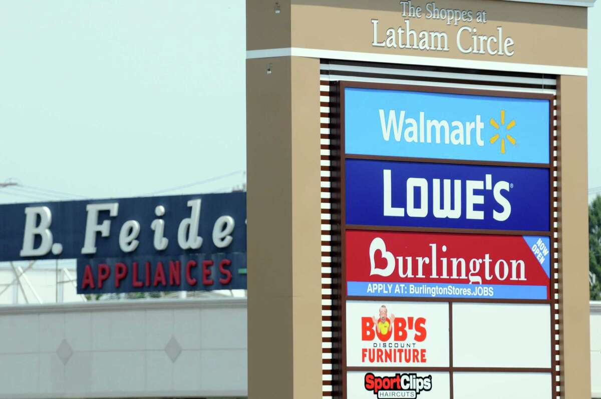 The sign outside The Shoppes at Latham Circle, the former Latham Circle Mall, in 2016.