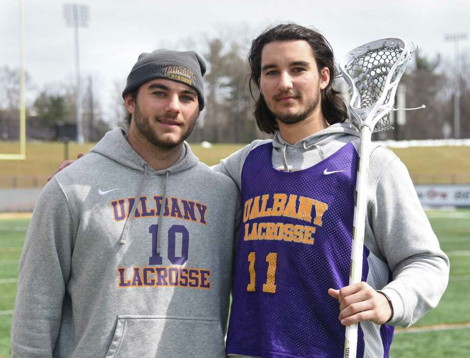 University at Albany lacrosse twin brothers Troy Reh, left, and Justin Reh are seen after practice on Friday, March 23, 2018 in Albany, N.Y. (Lori Van Buren/Times Union) Photo: Lori Van Buren / 20043284A