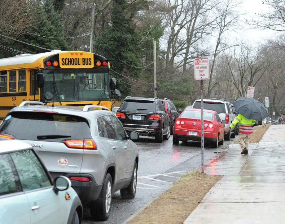 Traffic congestion on Hillside Road during dismissal time at Greenwich High School last month. Photo: Bob Luckey Jr. / Hearst Connecticut Media / Greenwich Time