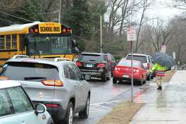 Traffic congestion on Hillside Road during dismissal time at Greenwich High School last month.