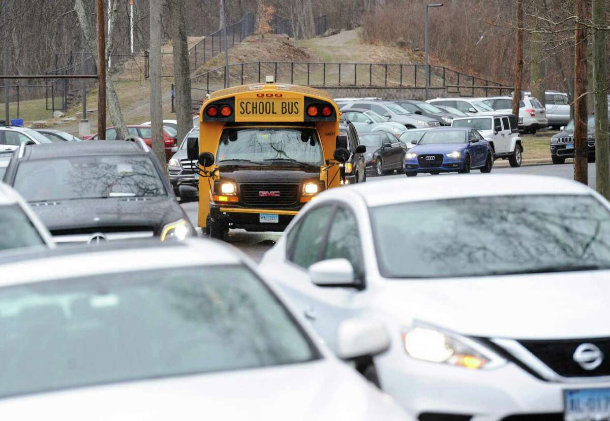 Traffic congestion on Hillside Road during dismissal time at Greenwich High School in Greenwich, Conn., Thursday, Feb. 22, 2018.