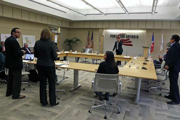 Port San Antonio board members prepare to accept the resignation of CEO Roland Mower.