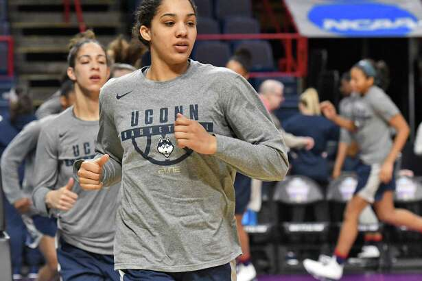 UConn's Gabby Williams and teammates warm up during practice Friday before their NCAA Tournament regional game at the Times Union Center in Albany, N.Y.