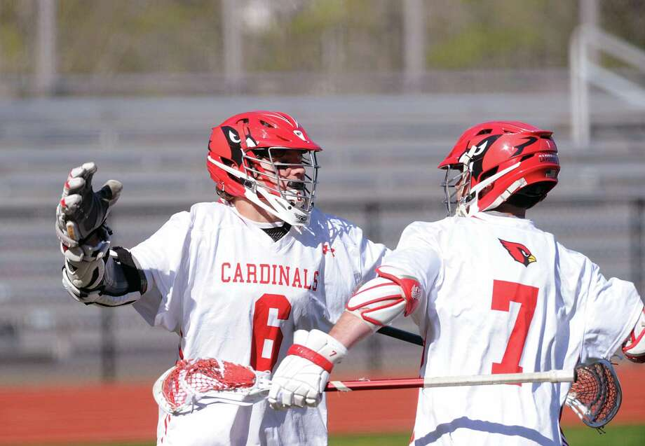 Greenwich's Jack Feda, left, and Matt Baugher helped lead the Cardinals to the FCIAC tournament semifinals and the Class L quarterfinals last season. Photo: Bob Luckey Jr. / Hearst Connecticut Media / Greenwich Time