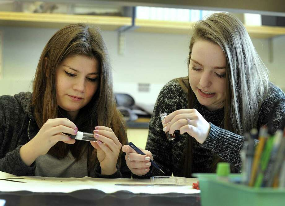 Sandra Zapata-Ramirez, 25, of Bethel, left and Brittany Schappach, 23, of New Fairfield are Biology majors at Western Connecticut State University. Friday, March 23, 2018, they work on tick borne desease prevention in a university lab. Photo: Carol Kaliff / Hearst Connecticut Media / The News-Times