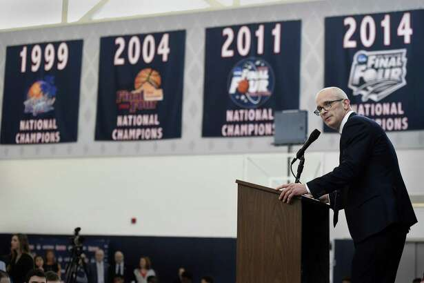 Dan Hurley speaks after being introduced as the new NCAA college basketball head coach at the University of Connecticut, Friday, March 23, 2018, in Storrs, Conn. Hurley, who coached Rhode Island into the NCAA Tournament the past two seasons, replaces Kevin Ollie, who was fired earlier this month.  (AP Photo/Stephen Dunn)