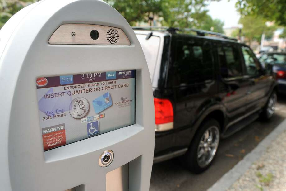 An electronic parking meter in downtown Bridgeport. Photo: Ned Gerard / Hearst Connecticut Media / Connecticut Post