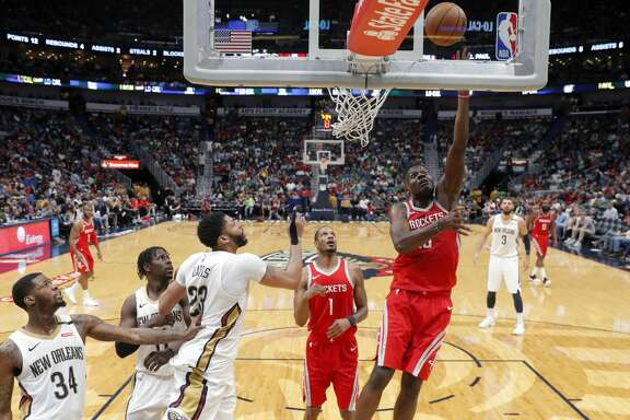 Houston Rockets center Clint Capela (15) goes to the basket in the second half of an NBA basketball game against the New Orleans Pelicans in New Orleans, Saturday, March 17, 2018. The Rockets won 107-101. (AP Photo/Gerald Herbert)